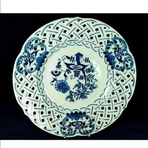 Large Pierced Plate Blue and White